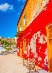 traditional house in kamini port in Hydra island in Greece