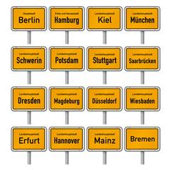 Ortsschilder der Landeshauptstädte in Deutschland