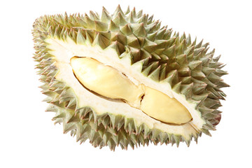 peeled durian isolated.