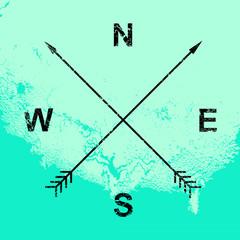 Compass illustration, crossed arrows