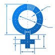 Female symbol with dimension lines for blueprint drawing