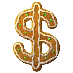 Gingerbread dollar decorated colored icing