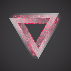Impossible triangle, red glossy design