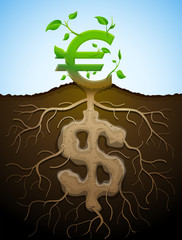 Growing euro sign like plant with leaves and dollar like roots