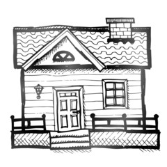 Hand drawn house. Sketch of home in doodle style