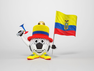 Soccer character fan supporting Ecuador