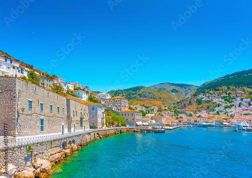 Aluminium The beautiful old main port of Hydra island in Greece