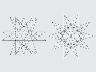 Polyhedron drawing, vector illustration