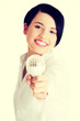 Businesswoman showing led bulb