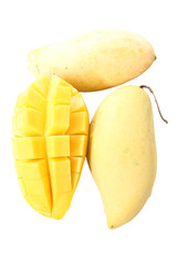 Fresh ripe mango to slice of isolated.