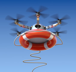 Drone with the lifebuoy