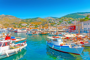 The beautiful main port of Hydra island in Greece