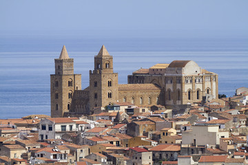 Italy, Sicily, Cefalu', view of the town and the Cathedral