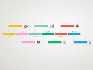 Timeline Infographic with business icons.