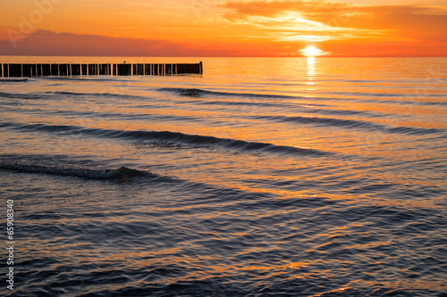 canvas print picture Sunset at the Baltic Sea