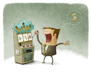 businessman gambling in slot machine