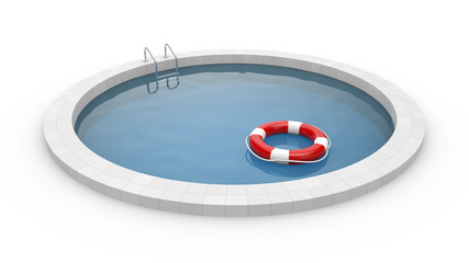 Pool with lifebuoy