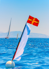 the finish line in a regatta in Spetses island in Greece