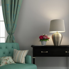Turquoise chair and golden lamp