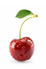 Sweet fresh cherry isolated on white
