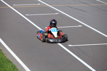 young Go-Carting  Racer finish