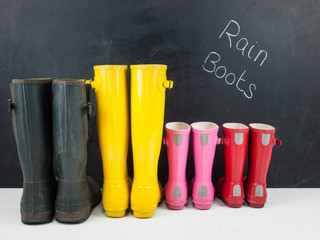 rubber boots against a blackboard