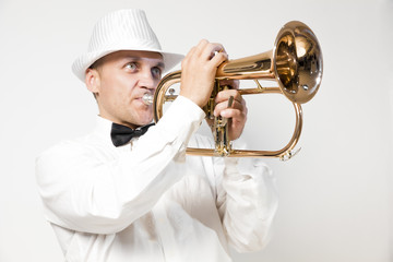 Trumpeter playing the flugelhorn