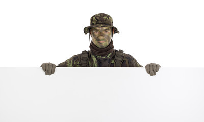 Soldier with horizontal blank board