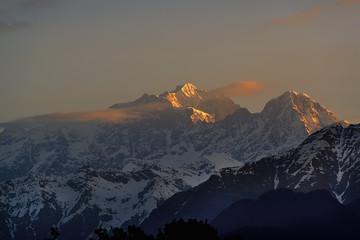 Chaukhamba mountains range at sunrise