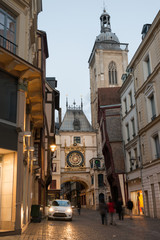 Famous Gros Horloge street with astronomical clock tower, Rouen
