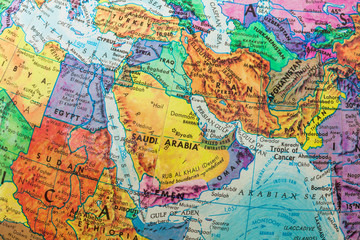 Old Globe Map of The Middle East Countries