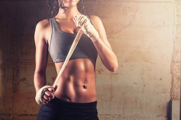Fit woman preparing for exercising