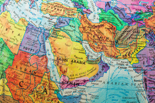 Foto op Canvas Oost Europa Old Globe Map of The Middle East Countries