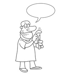 Monochrome outline cartoon doctor
