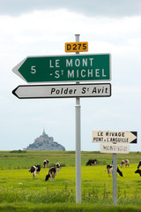 Direction sign to Mont Saint Michel, Normandy