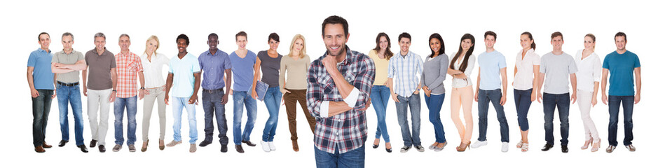 Confident Man With Friends Against White Background