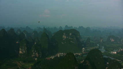 Amazing hills from a balloon in Yangshuo, China