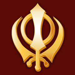 Sikh Khanda, gold symbol of Sikh faith on crimson red background