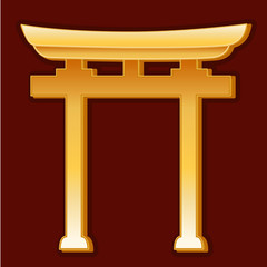 Shinto Symbol, gold Torii Gate icon on crimson red background