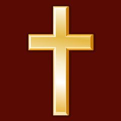 Christian Cross, gold symbol of Christianity, faith and religion