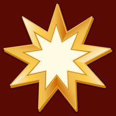 Baha'i Symbol, gold nine pointed star religious icon