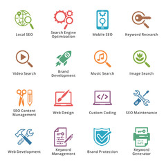 SEO & Internet Marketing Icons Set 1 - Colored Series