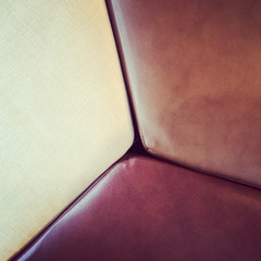 Furniture, close-up of leather and textile seats.