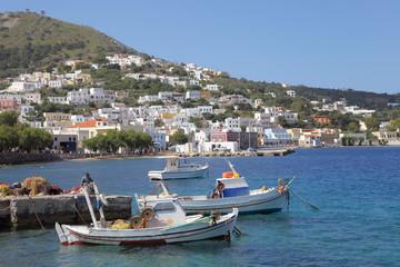 Fischerboote im Hafen von Agia Marina, Leros