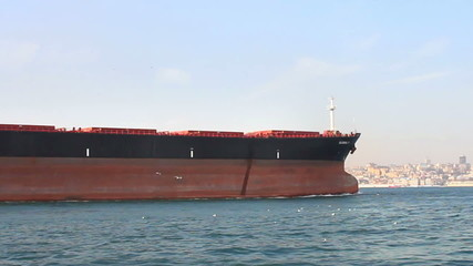 Bow of the large oil tanker ship. Ship sailing out