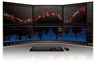 株価チャートとマルチモニターパソコン