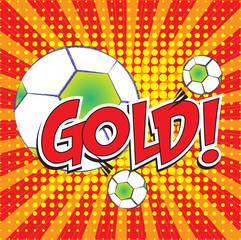 GOLD! wording in pop art style on burst background