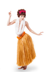 Young caucasian hula dancer