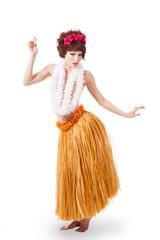 Young caucasian hula dancer