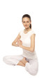 young beautiful yoga posing on a studio background7